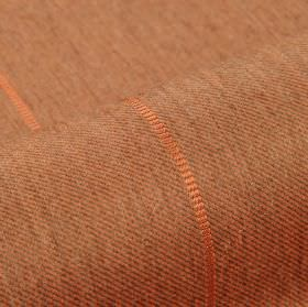 Odeon - Orange (8) - Thin copper coloured lines spaced widely over pinkish brown coloured fabric made from polyester and viscose
