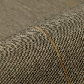 Odeon - Black (9) - Dark grey and off-white coloured polyester and viscose threads woven into fabric with widely spaced gold-beige lines
