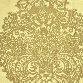 Sulpice - Cream Beige (2) - Limestone coloured 100% silk fabric printed with a very detailed, ornate pattern in gold