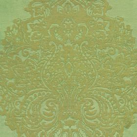 Sulpice - Green (3) - Jade coloured fabric made entirely from silk, featuring a light brown coloured pattern which is large, ornate and detail