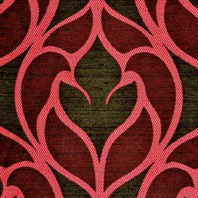Pantin - Purple Red - Polyester and viscose blend fabric featuring stylish abstract designs in bright pink, deep burgundy and dark brown colou
