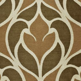 Pantin - Brown Beige - Two different shades of brown with white, making up a stylish, curving abstract design on polyester and viscose fabri