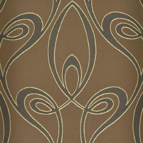 Lazare - Brown  (2) - Grey-brown coloured fabric made from cotton and viscose behind a design of iron grey swirls edged in white
