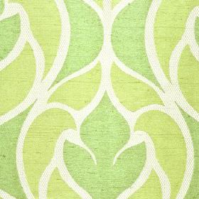 Pantin - Green Cream - Light shades of grass green and lime green in a stylish abstract design on white fabric made from polyester and visco