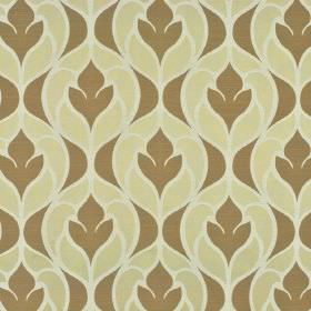 Pantin - Beige Brown - A repeated simple stylised floral design printed in light brown and cream on polyester and viscose blend fabric in wh