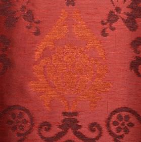 Arama - Red - Polyester, viscose and viscose-chenille blend fabric in dusky red, with ornate designs in copper and aubergine colours