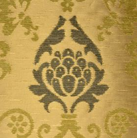 Arama - Gold Green - Gold and dark grey coloured ornate patterns against a polyester, viscose and viscose-chenille blend fabric in pale gold