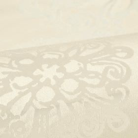 Alicia - Cream (1) - Very subtly patterned polyester and viscose blend fabric in two shades of white, with a small, detailed, swirled design