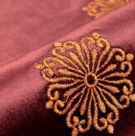 Nazario - Pink (17) - Copper and purple coloured cotton, modal and polyester blend fabric with a pretty, round, curved line and dot design