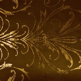 Constanza - Green Gold (1) - Swirling metallic gold lines over a matt, dark gold coloured 100% polyester fabric background