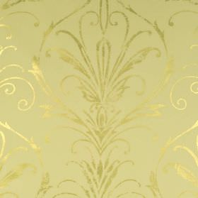 Constanza - Gold - Subtle metallic cream coloured swirling, curved, thin lines over matt cream coloured fabric made from 100% polyester