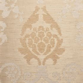Arama - Cream (1) - Light shades of grey and brown making up an ornate pattern on warm beige coloured fabric made from various materials