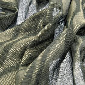 Macas CS - Dark Grey (4) - 100% Trevira CS fabric which is translucent and light grey, covered with a design of wide, wavy, dark grey stripe