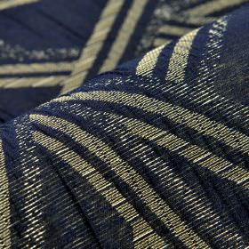 Zamora CS - Blue (5) - Off-white coloured lines running in different directions over navy blue coloured 100% Trevira CS fabric