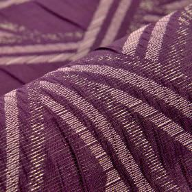 Zamora CS - Purple - Royal purple 100% Trevira CS fabric featuring patterns of stripes running in different directions in an off-white colou