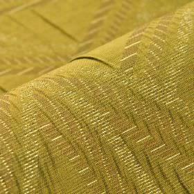 Zamora CS - Yellow - A pattern of stripes running in different directions over 100% Trevira CS fabric in several similar shades of gold