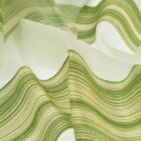 Mira CS - Green White (6) - Olive green and cream shades making up a design of wide, shaded stripes on 100% Trevira CS fabric in translucent