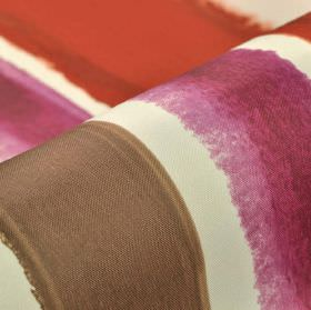 Balboa - White Pink Red - Roughly printed stripes in dusky red, purple and dove grey colours against a white background of 100% polyester FR f