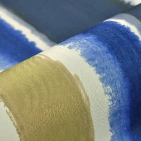 Balboa - White Beige Blue (7) - 100% polyester fabric in white, printed with rough but evenly sized stripes in Royal blue, navy blue and bei