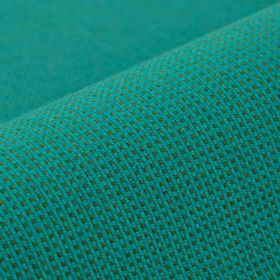Popping CS - Teal - An aqua blue coloured grid covering grey fabric made from 100% Trevira CS in a small, simple pattern