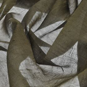 Calvas CS - Brown (7) - Translucent 100% Trevira CS fabric made with a net style in a dark grey-brown colour