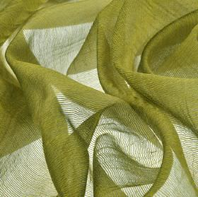 Calvas CS - Green (11) - Gold-green coloured threads woven into a translucent net style fabric