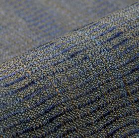 Flow CS - Blue - Iron grey coloured 100% Trevira CS fabric patterned with slightly wavy lines in denim blue with a very slight sheen
