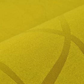 Giron CS - Yellow (9) - Fabric made in a honey colour from 100% Trevira CS, featuring a pattern of uneven, overlapping lines in gold