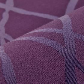 Giron CS - Purple (13) - Denim blue coloured lines with a subtle sheen overlapping on purple coloured 100% Trevira CS fabric