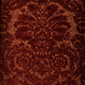 Jockey - Red (11) - Burgundy and light copper coloured polyester & viscose-chenille blend fabric featuring an ornate jacquard style pattern