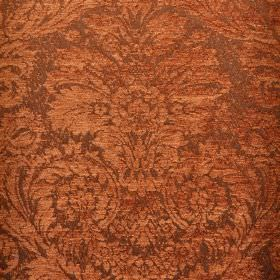 Jockey - Orange (12) - An ornate jacquard style pattern in a warm copper colour on light grey-brown polyester and viscose-chenille blend fab