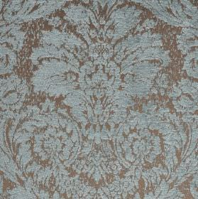 Jockey - Blue Brown (17) - Pale grey polyester and viscose-chenille blend fabric behind a large, ornate jacquard style pattern in pale blue
