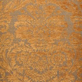 Jockey - Orange (2) - Apricot and silver coloured polyester and viscose-chenille blend fabric with a detailed, ornate jacquard style print patte