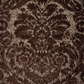 Jockey - Brown (4) - Grey polyester and viscose-chenille blend fabric behind an ornate, jacquard style print pattern in very dark grey-brown
