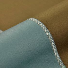 Vitore CS - Blue Brown Cream - 100% Trevira CS fabric in light blue and brown with a white and blue chevron patterned stripe separating the