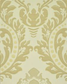 Marcona CS - Cream Beige (4) - Cream coloured dots printed with ornate, beige leafy designs on a white 100% Trevira CS fabric background