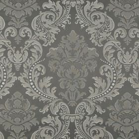 Marcona CS - Brown Beige - Very ornate jacquard style patterns printed repeatedly on 100% Trevira CS fabric in three different shades of gre