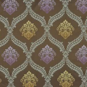 Molozzo CS - Brown Purple Gold - Jacquard style patterns printed repeatedly in various shades of beige and blue on gunmetal grey 100% Trevir