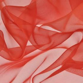 Gavotte - Red (27) - A plain shade of coral-red covering translucent fabric made from 100% Trevira CS