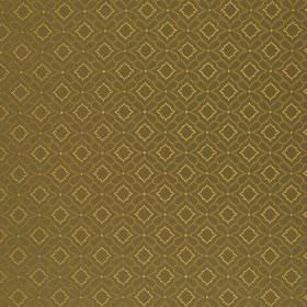Orfeo - Brown - 100% Trevira CS fabric printed with a small, simple repeated square and geometric shape pattern in light brown and beige