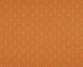 Orfeo - Orange (5) - Fabric made from orange 100% Trevira CS behind a simple, repeated pattern of subtle squares and geometric shapes