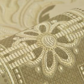 Vernon - Beige - Simple flowers, lines and dots in white on cotton, rayon and viscose blend fabric in a few different light shades of grey