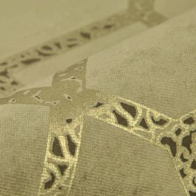 Louvre - Brown (5) - Three different shades of grey making up a dralon and polyester blend fabric with a pattern of overlapping patterned line