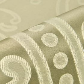 Desarts - Beige (3) - Fabric made from white, pale grey and silver coloured 100% silk, patterned with dots, swirls and lines
