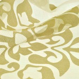 Cluny - Beige (5) - Simple light brown coloured patterns on a slightly translucent white coloured polyester and China grass fabric background