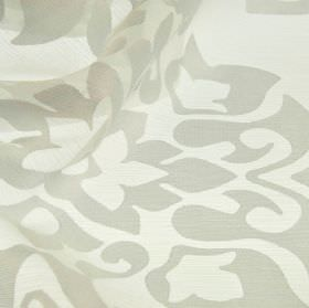 Cluny - Grey (14) - Light grey and white polyester and China grass blend fabric patterned with a very simple floral style design