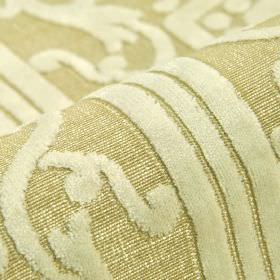 Camondo - Cream (1) - Off-white coloured lines and swirls patterning light beige coloured polyester and viscose blend fabric