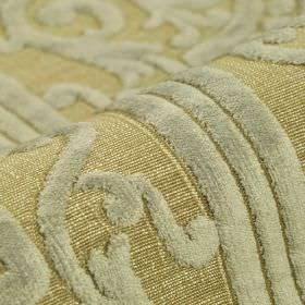Camondo - Beige (2) - Light beige polyester and viscose blend fabric with a slightly textured pattern of lines & swirls in very pale blue-gr