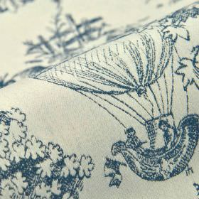 Branly - White Blue - Drawings of trees and hot air balloons printed in denim blue on a white 100% cotton fabric background