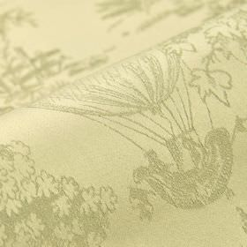 Branly - Beige - Fabric made from light grey and beige 100% cotton, featuring designs of drawings of trees and hot air balloons